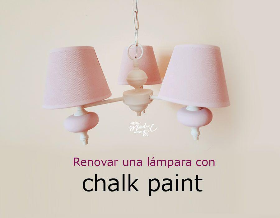 pintar lámpara metálica con chalk paint