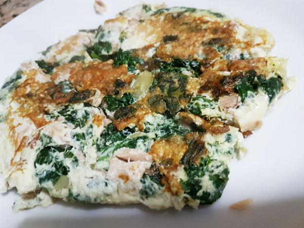 tortilla de espinacas y atún